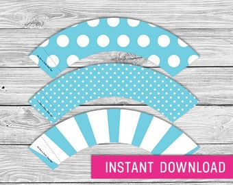 Printable Cupcake Wrapper - Blue (instant download, cupcake wrappers, cupcake liner, baby shower, baby boy, first birthday, wedding)