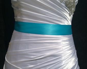Turquoise Sash- 1.5 In or 2.5 in Simple Satin Sash- Wedding Sash- Bridal Sash- Flower Girl Sash- Simple Sash- Plain Sash- Ready to Ship