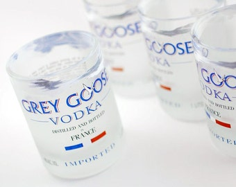 Four Grey Goose rocks glasses, upcycled recycled repurposed bottle tumblers