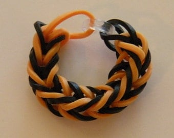 Fishtail Rubber band ring or American Girl Doll Bracelet  By Brittani black and gold or Custome colors Latex Free