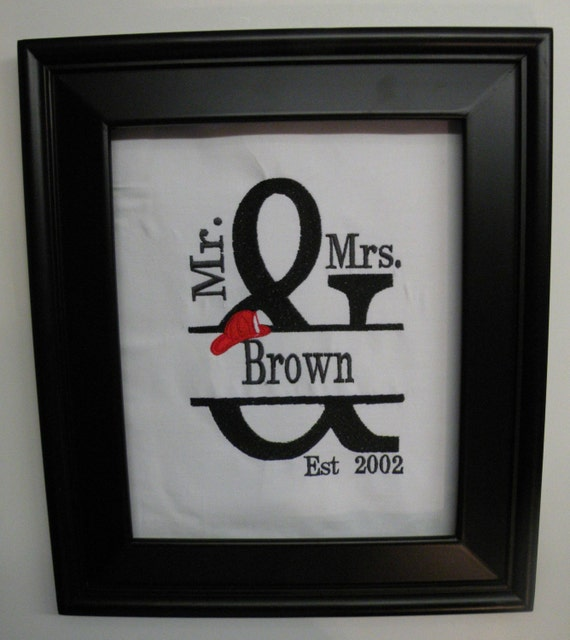 Personalized Firefighter Fire Man Wedding Gift FRAMED Mr And