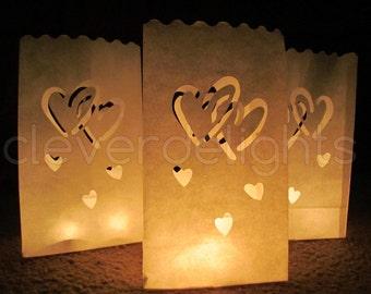 30 Luminary Bags White Interlocking Hearts Design Wedding Reception A