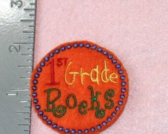 1st Grade Rocks back to school set of 4 UNCUT felties clippie bow centers, hair clip, bow, felt embelishment, felt bow, feltie, applique