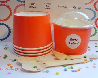 25 Red Ice Cream Cups - Large 16 oz