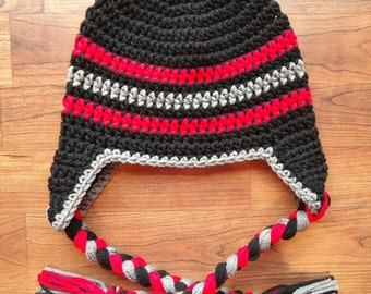 Crocheted Baby Boy Ear Flap Hat with Braided Ties ~ Black, Red & Pewter Gray Earflap Hat ~ Newborn to 5T - MADE TO ORDER