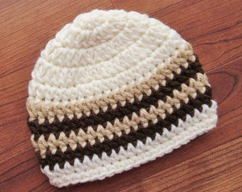 Crocheted Baby Boy Hat, Crocheted Baby Beanie - Cream, Tan, & Chocolate Brown, Baby Shower Gift, Newborn to 5T - MADE TO ORDER