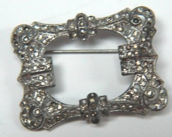 Vintage Coro Rhinestone Brooch Triplette Center Section 1930s