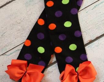 Newborn Halloween Polka Dot Leg Warmers