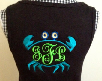 Monogrammed Embroidered Crab Tank Top