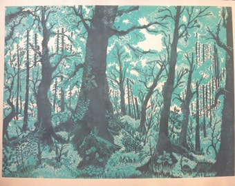 Large Forest Linocut Print Aqua Green and Grey