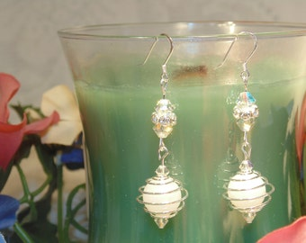 White Onyx Bead Dangling Earrings - Very Elegant and Attractive At A Very Smart Price. FREE SHIPPING.