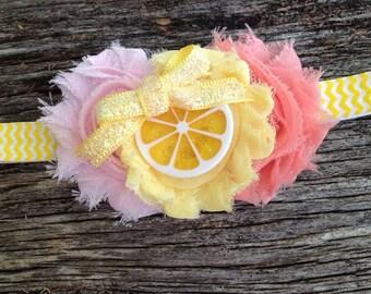 Lemonade stand headband, Pink and Peach Flowers, Yellow Chevron, Summertime, ws23