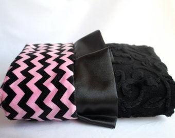 Minky Cuddle Zig Zag Chevron Baby Blanket in Black and Pink with Minky Embossed Vine Backing