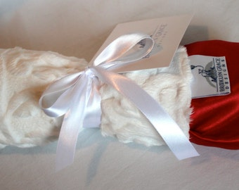 White Embossed Vine Mini Minky Blanket Finished with a Red Satin Ruffle Trim - Holiday, Lovey, Lovie, Baby Blanket
