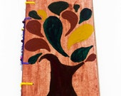 Hand painted, coptic stitched handmade journal with tree