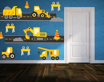 Construction Truck Decal - Boys Nursery Decals - Children Wall Decals - Truck Wall Decals - Transportation Decals