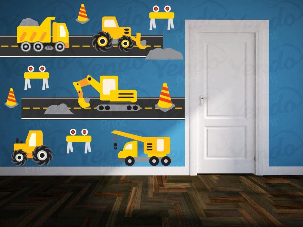 construction truck decal boys nursery decals children wall. Black Bedroom Furniture Sets. Home Design Ideas