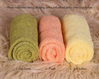 Newborn Stretch Knit Wrap - Photo Prop - Pea Green / Yellow / Peach