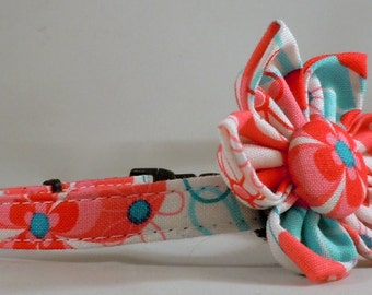 Cat Collar or Kitten Collar with Flower or Bow Tie - Nearby Floral Aqua