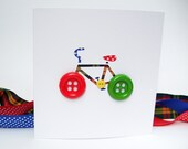Bicycle Card with Button Wheels - Bike Card - Cycling Card - Paper Cut Handmade Greeting Card - Personalised Card - Birthday Card - Etsy UK
