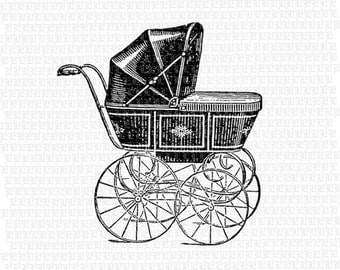 Antique Victorian Baby Carriage Black Vintage Clip Art Illustrations High Quality Printable Digital Collage Sheet 1448