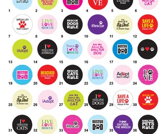 Rescue Pet Theme, Cats and Dogs Bottle Cap Magnets