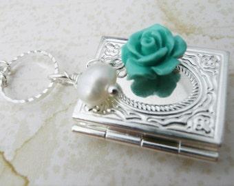 50% off SALE Silver  Book locket, carved coral rose necklace. No. N74 1