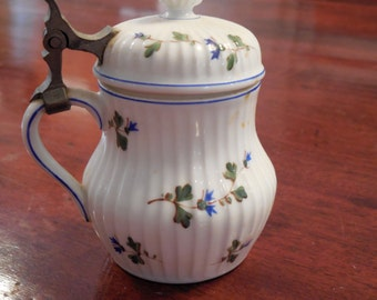 Mehcun, France China, small serving piece, blue floral motif, metal handle