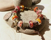 Love Bravely, European Charm Bracelet, in oranges and reds - #179