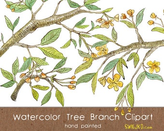 Digital Clipart, Watercolor Tree Branch, Flower Clipart