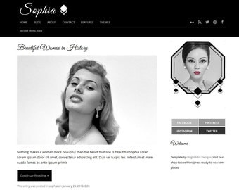 Sophia - Premade Responsive Wordpress Theme - Instant Download - Website and Blog Template