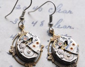 Steampunk earrings with vintage watch parts