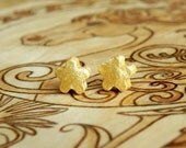 Bright Gold Stud Earrings Small Ceramic Flower Posts Modern Fashion Jewelry