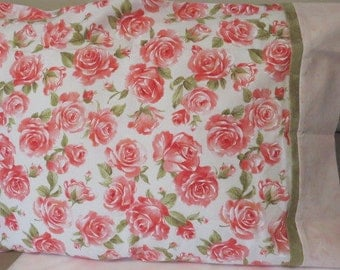 Pink and Green Pillow Cases, Floral Pillow Cases, Cotton Pillow Cases, Pillow Slips, Pillow Covers