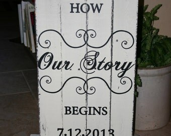 "Wedding Signs - ""This is how our story begins"" with your wedding date"