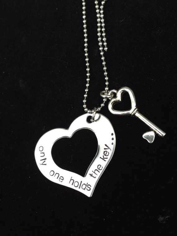 Hand Stamped Stainless Steel Heart Necklace, heart and key