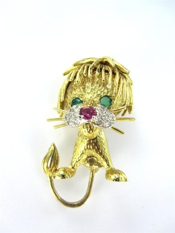 Items Similar To 18kt Yellow Gold Pin Brooch Lion Diamond