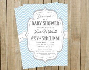 Vintage Blue Chevron with Gray Baby Shower Invitation, Custom Digital File, Printable