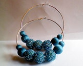 """3"""" Handmade Basketball Wives/Love and Hip Hop/Urban Inspired Turquoise Thread Covered/Seed Beads Embellished Beads Trendy Hoop Earrings"""