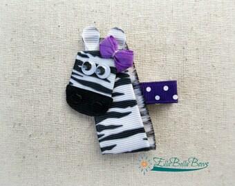 Zebra Ribbon Sculpture Hair Clip, handmade hair bow