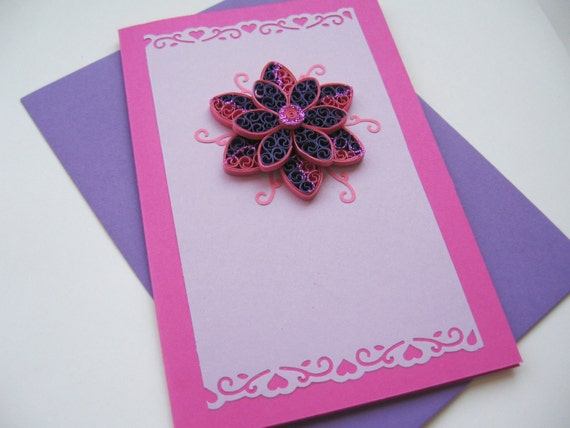 Handmade Greeting Card Quilling Birthday Card for Her