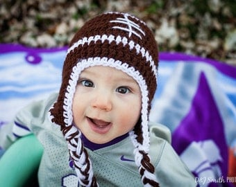 Baby Boy Knit Hat Football Crochet 0 to 3 months Newborn Photo Prop