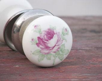 Set of Vintage Ceramic Door Handles with pink rose - Door Knob - Furniture Supply