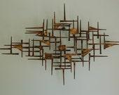 Mid Century Modern Brutalist Nail Art Wall Hanging Sculpture