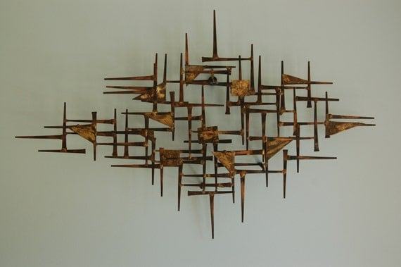 mid century modern brutalist nail art wall hanging sculpture. Black Bedroom Furniture Sets. Home Design Ideas