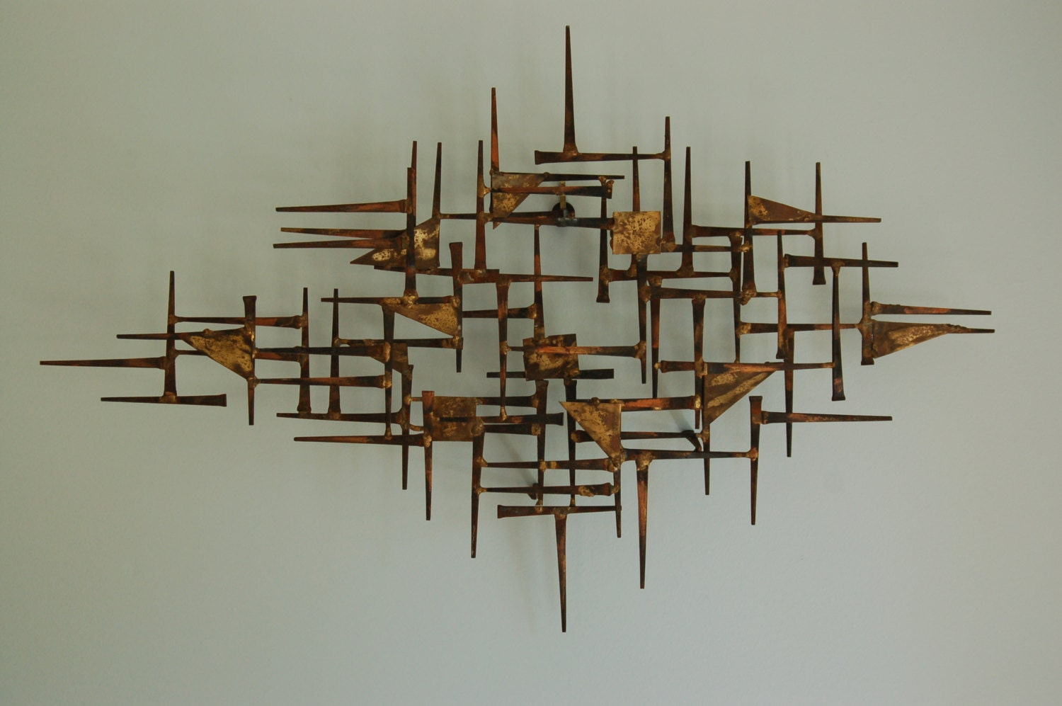 Mid century modern brutalist nail art wall hanging sculpture for Bronze wall art