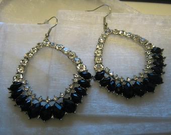 Vintage jet black and clear rhinestones earrings, silver tone and rhinestones jewelry, Costume jewelry, Runway style earrings
