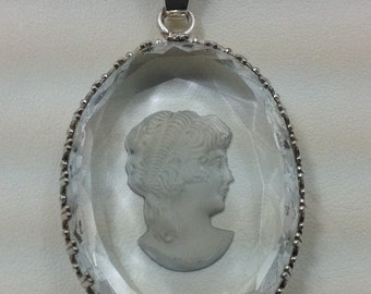 Large sterling silver and cameo crystal pendant.