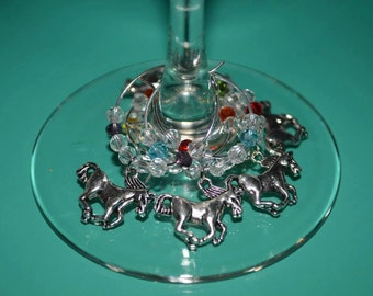 6 pack HORSES hand made wine glass charms with Swarovski crystals