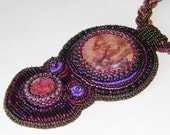 Beaded jasper necklace / beadwork necklace / statement necklace / pendant necklace / bead embroidery / jasper sediment